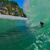 beachbeat surfboards markie at home in a big pit, bali