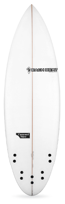 beachbeat surfboards caramel slice performance shortboard, five fin.